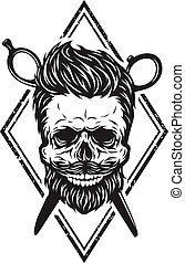 Skull with a beard and a stylish haircut. The symbol of the ...