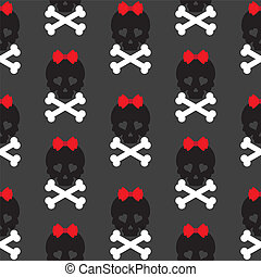 Skull with a bow, seamless pattern. Vector background