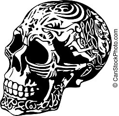 skull with a decorative carving