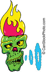 Skull with a flaming head vector illustration