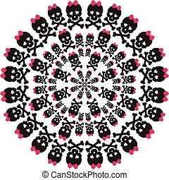 Skull with a pink bow on white background. Circular pattern.
