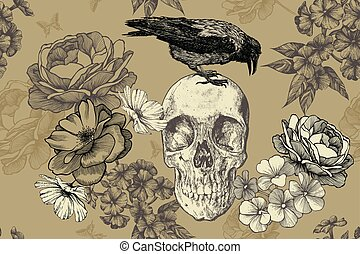 Skull with a raven and roses on a seamless, floral background. Vector illustration, hand drawing..