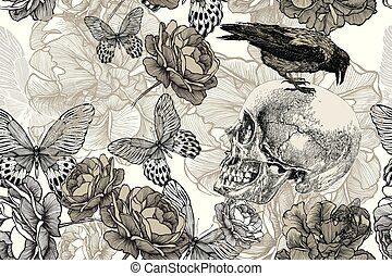 Skull with a raven on a seamless, floral background. Vector illustration, hand drawing.