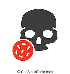 Skull with bacteria colored icon. Bones of the head, cranial...