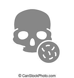 Skull with bacteria grey icon. Bones of the head, cranial ...