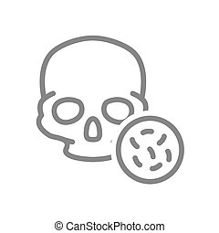 Skull with bacteria line icon. Bones of the head, cranial ...