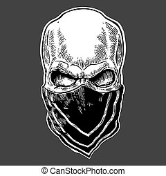 Skull with bandana. Black vintage vector illustration. For poster and tattoo biker club. Hand drawn design element isolated on dark background.