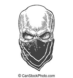 Skull with bandana. Black vintage vector illustration. For poster and tattoo biker club. Hand drawn design element isolated on white background.