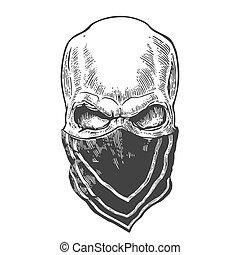 Skull with bandana. Black vintage vector illustration. For...