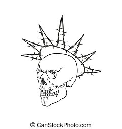 Skull with barbed wire vector illustration on white background