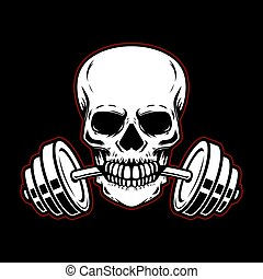 Skull with barbell in teeth. Design element for gym logo, label, emblem, sign, poster, t shirt.