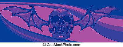 skull with bat wings on colored background vector