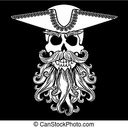 Skull With Beard - Pirate symbol Jolly Roger with a beard...
