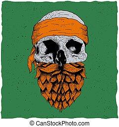 Skull with beard