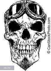 skull with beard on glasses pilot - engrave isolated skull...