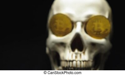 Skull with bitcoin symbols. coins on the eyes