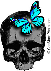 skull with blue butterfly