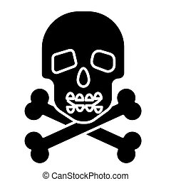 skull with bones icon, vector illustration, black sign on isolated background