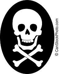 Skull with bones, illustration, vector on white background.