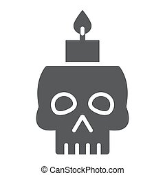 Skull with candle glyph icon, spooky and decor, halloween candle sign, vector graphics, a solid pattern on a white background.