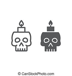 Skull with candle line and glyph icon, spooky and decor, halloween candle sign, vector graphics, a linear pattern on a white background.
