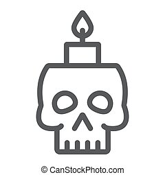 Skull with candle line icon, spooky and decor, halloween candle sign, vector graphics, a linear pattern on a white background.