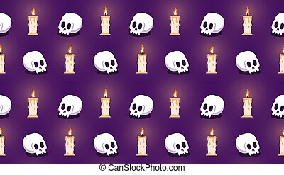 Skull with candle seamless halloween pattern