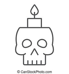 Skull with candle thin line icon, spooky and decor, halloween candle sign, vector graphics, a linear pattern on a white background.