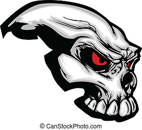 Skull with Cartoon Vector Image - Cartoon Vector Image of a...