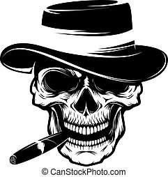 Skull with cigar and hat. Design element for emblem, badge,...
