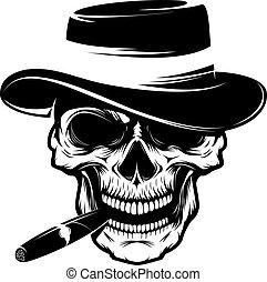 Skull with cigar and hat. Design element for emblem, badge,...