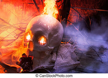 Skull with cloth and fire angle vie - Anatomic white skull...