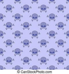 Skull with crossbones background. Seamless purple pattern from head of skeleton. Halloween Ornament