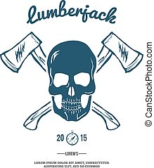 Skull with Crossed Axes. Vector
