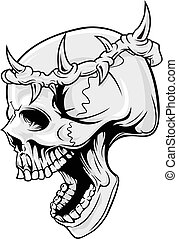 illustration of skull wearing crown of thorn in vector