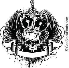 Skull with crown, wings and sword