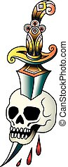 Skull with dagger on a white background. Vector illustration Old school tattoo line art. Suitable for printing transfer tattoos and stickers