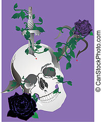 Skull, with daggers and roses illustration