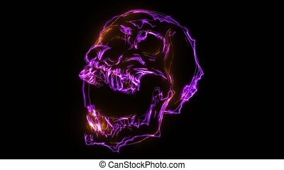 skull with electricity and illuminated by laser - skull with...