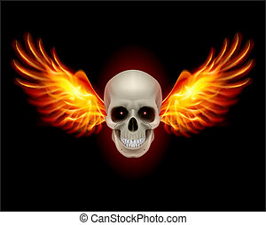 Skull with Fire Wings