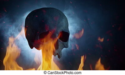 Skull With Flames And Smoke In The Dark