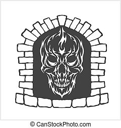 Skull with flames style
