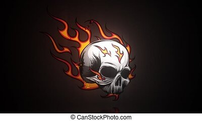Skull with flames video animation - Skull with flames ...