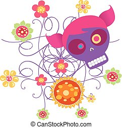 skull with flowers 2