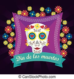 skull with flowers and hearts to day of the dead