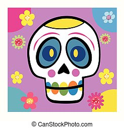skull with flowers cartoon