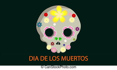 Skull with flowers for the day of death in the Mexican holiday DIA DE LOS MU, art video illustration.