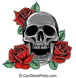 Skull with flowers, with roses. Drawing by hand.