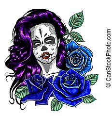 Skull with flowers, with roses. Drawing by hand