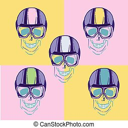 Skull With Glasses For A Sketch Of The Pilot Vector Illustration 3